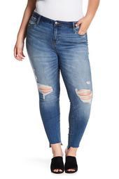 Ellie High Rise Raw Step Hem Skinny Jeans (Plus Size)