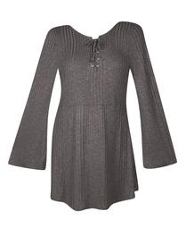 Extra Touch Women's Plus Grey Lace Up Flare Dress