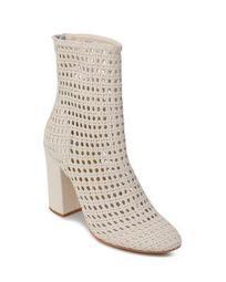 Women's Woven Leather Block Heel Booties