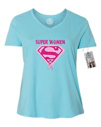 Breast Cancer Awareness Superwoman Plus Size Womens V Neck T-Shirt Top