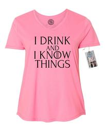 Game of Thrones Drink and Know Things Funny Shirt  Plus Size Womens V Neck T-Shirt Top