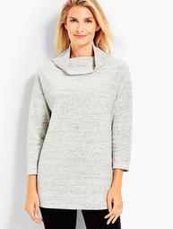Luxe Velour Tweed Cowl Neck Tunic