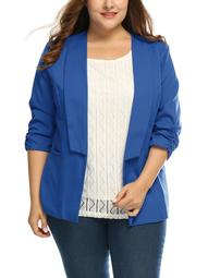 Women's Plus Size 3/4 Sleeves Turn Down Collar Blazer Blue (Size 2X)