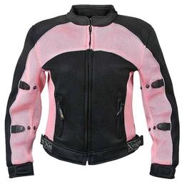 Xelement CF508 Womens Black/Pink Mesh Armored Jacket