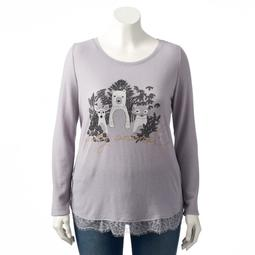 Plus Size LC Lauren Conrad Lace Trim Top
