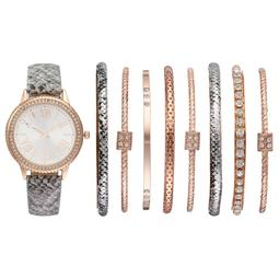 Women's Crystal Snakeskin Watch & Bangle Bracelet Set