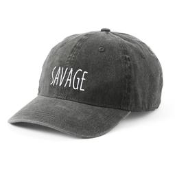 "Women's SO® Embroidered ""Savage"" Washed Denim Baseball Hat"