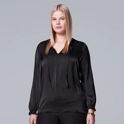Plus Size Simply Vera Vera Wang Textured Satin Top