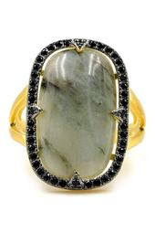 14K Yellow Gold Plated Sterling Silver Radiant-Cut Labradorite & Pave CZ Halo Ring - Size 6