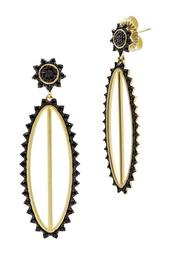 14K Yellow Gold Plated Sterling Silver Pave CZ Harlequin Edge Oval Drop Earrings