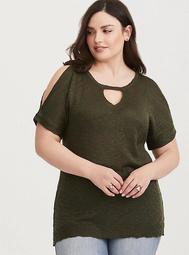 Olive Cold Shoulder Knit Pullover