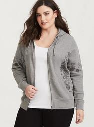 Heather Grey Embroidered Hooded Jacket