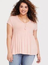 Super Soft Peach Babydoll Tee