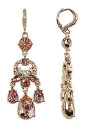 White & Blush Glass Crystal Chandelier Earrings