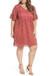 Bell Sleeve Mixed Lace Fit & Flare Dress