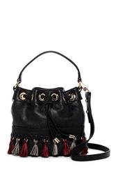 Astor Whipstitch Leather Small Bucket Bag Crossbody Bag