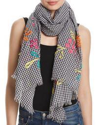 Embroidered Gingham Oblong Scarf
