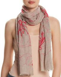Embroidered Floral Oblong Scarf