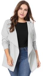Unique Bargains Women's Plus Size Long Sleeve Open Front Drape Coat Hooded Cardigan Gray (Size 2X)