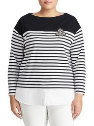 Plus Stripe Layered Cotton Sweater