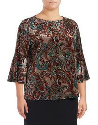 Plus Paisley Knit Pullover