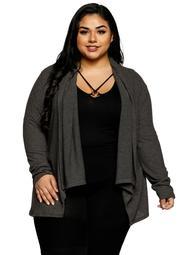 Xehar Women's Plus Size Asymmetrical Open Front Drape Cardigan