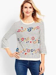 Floral Row Crewneck Sweater