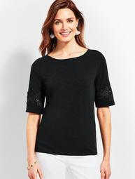 Lace-Trim Boatneck Tee