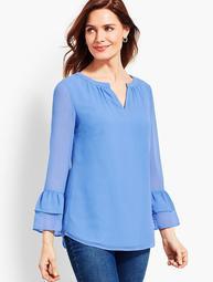 Split Neckline Popover Shirt