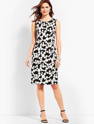 Scallop-Detail Dot Sheath Dress