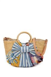 Jaelynn Straw Paper Basket Shoulder Bag
