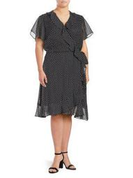 Plus Polka Dot Ruffle Wrap Dress