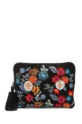 Super Bloom Floral Embroidered Zip Pouch
