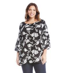 Plus Size Embroidered Side Slit Top
