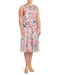 Plus Girl's Floral Fit-&-Flare Dress