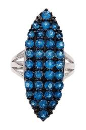 Sterling Silver Pave Neon Apatite Marquise Face Ring