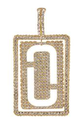 Pave Double J Single Clip On Earring