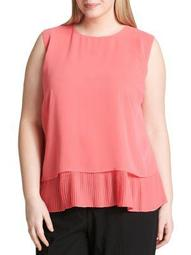 Plus Pleated Overlay Top