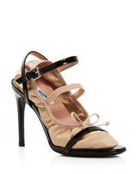 Women's 2-in-1 Patent Leather & Satin Ankle Strap Sandals