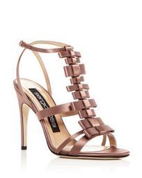 Women's Satin Bow T-Strap High Heel Sandals