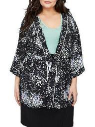 Plus Allover Floral-Print Kimono