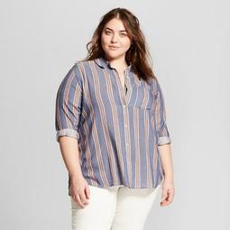 Women's Plus Size Striped Long Sleeve Button-Down Shirt - Universal Thread™ Blue