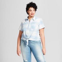 17a8b35acff Universal Thread™ Women s Plus Size Short Sleeve Plaid Tie Front