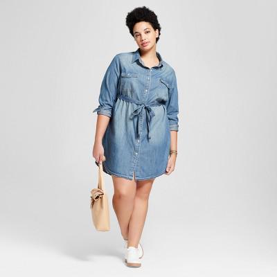 Women\'s Plus Size Denim Shirt Dress Universal Thread™ Medium Wash