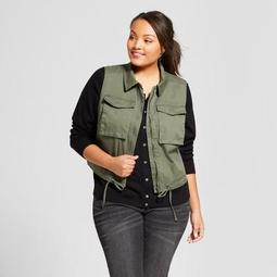 Women's Plus Size Cropped Military Vest - A New Day™ Green