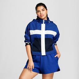 8269725db15 Hunter for Target Women s Plus Size Colorblock Hooded Windbreaker Jacket -  Blue