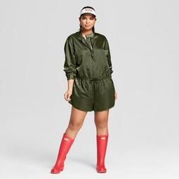 2c54a4a82b9 Hunter for Target Women s Plus Size Zip Front Tie Waist Long Sleeve Romper  - Olive