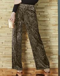 Crushed Stretch Velour Wide Leg Trousers