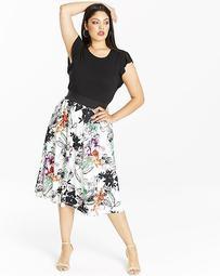 Floral Print Ruffle Sleeve Prom Dress
