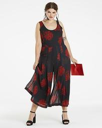 Black Rose Printed Chiffon Jumpsuit